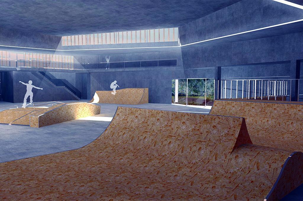 Planowana hala skateparku przy ul. Mackiewicza. Wizualizacja Zarządu Infrastruktury Sportowej w Krakowie